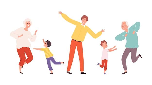 춤추는 귀여운 가족. 노인과 어린이는 캐릭터를 dencers합니다. 행복 한 조부모와 아이 벡터 일러스트 레이 션. 가족 댄스, 행복한 함께 소녀 소년과 할머니