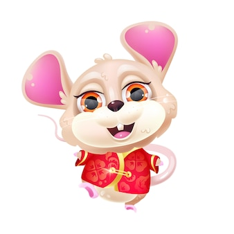 Cute dancing mouse kawaii cartoon character. chinese new year zodiac symbol. adorable, funny animal in traditional red costume isolated sticker, patch. anime baby rat emoji on white background