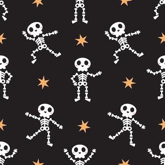 Симпатичный танцующий скелет бесшовные модели для хэллоуина