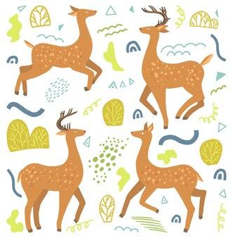 Симпатичные пятнистые олени плоской рисованной векторные иллюстрации. красочная коллекция в скандинавском стиле. абстрактное зимнее животное. простой набор элементов для дизайна