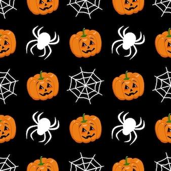 Симпатичный темный фон с тыквами, паутиной и пауками.