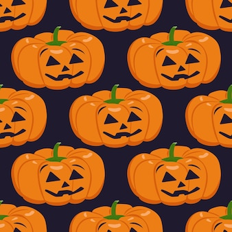Cute dark seamless pattern with pumpkins face and smile