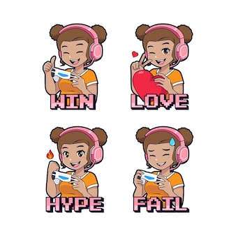 Cute dark skin gamer girl sticker and badges set