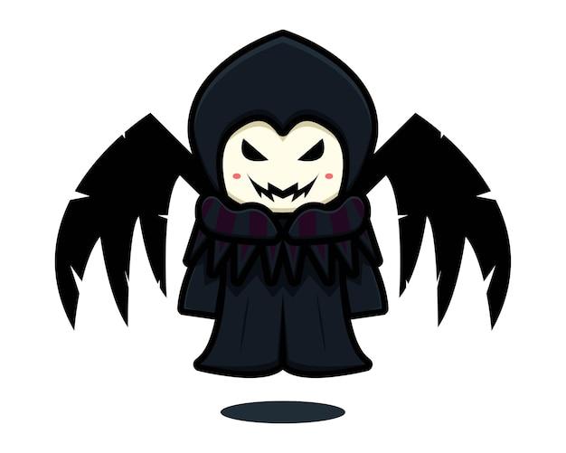 Симпатичный темный талисман ведьмы с черными крыльями мультяшный вектор значок иллюстрации. дизайн, изолированные на белом. плоский мультяшный стиль.