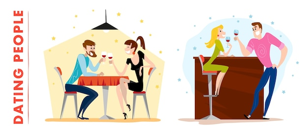 . . cute dating man and lady characters. happy guy and girl sitting at the cafe table drinking wine in the evening restaurant.