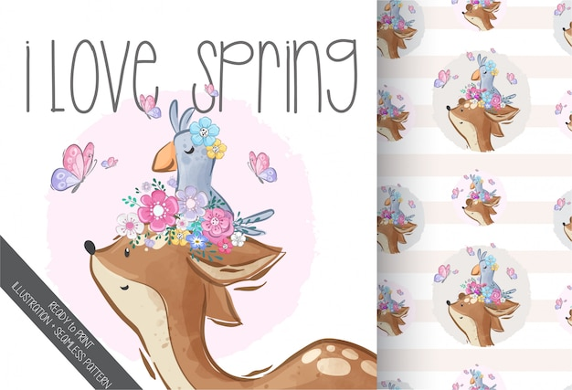 Cute dear with little bird illustration  seamless pattern