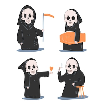 Cute death characters vector cartoon set isolated on a white background.