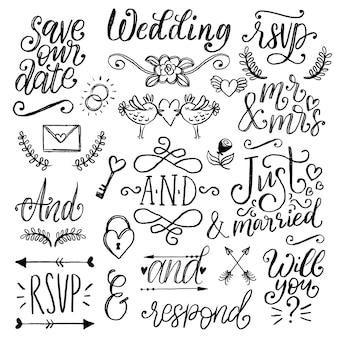 결혼식 초대장, 카드, 텍스트가 있는 오버레이용 귀여운 장식 날짜 등을 저장합니다. 손으로 쓴 앰퍼샌드, 표어, 꽃 낙서, 화살표, 꽃, 월계수 및 프레임의 스케치의 벡터 컬렉션
