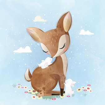 Cute Deer and His Bunny Friends