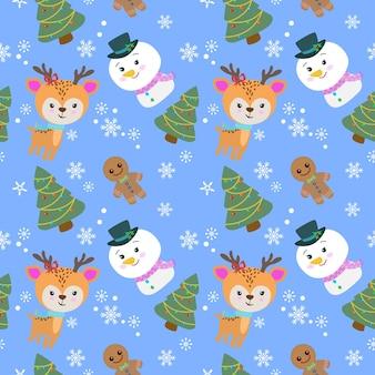 冬のシームレスなパターンでクリスマスツリーとかわいい鹿と雪だるま。