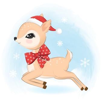 冬のかわいい鹿と雪の結晶、クリスマスのイラスト。