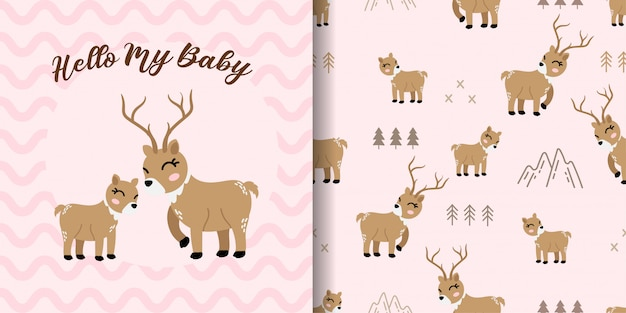 Cute deer animal seamless pattern with baby card