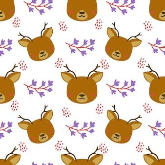 Cute deer animal vector seamless pattern background