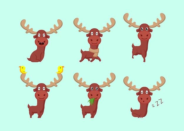 귀여운 사슴 캐리커처 웃는 마스코트 로고 디자인