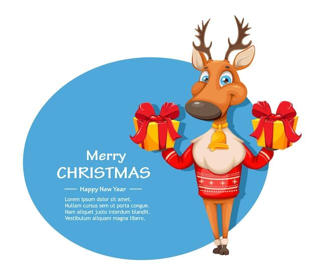 따뜻한 스웨터에 귀여운 사슴 만화 캐릭터