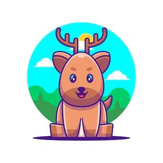 かわいい鹿漫画ベクトルイラスト