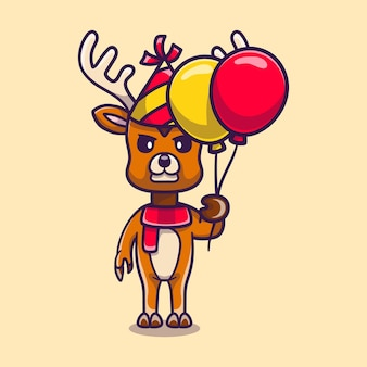 Cute deer celebrating happy new year or birthday with balloons