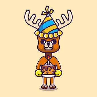 Cute deer celebrating happy new year or birthday