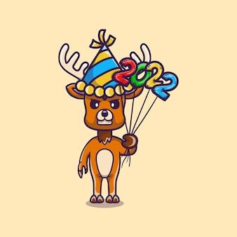 Милый олень празднует новый год с воздушными шарами 2022 года