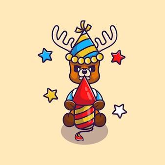 Милый олень празднует новый год с ракетой фейерверка
