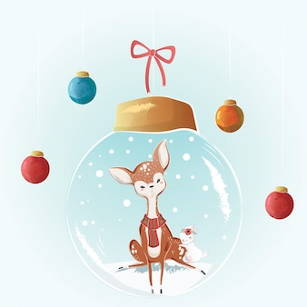 Cute deer in a christmas bulb