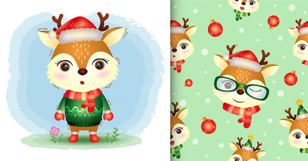 A cute deer christmas characters collection with a hat, jacket and scarf. seamless pattern and illustration designs