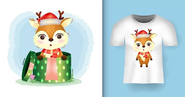 티셔츠 디자인으로 선물 상자에 산타 모자와 스카프를 사용하는 귀여운 사슴 크리스마스 캐릭터