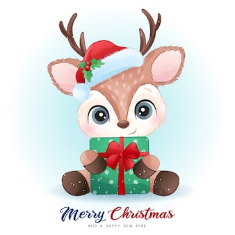 Cute  deer for christmas day with watercolor illustration