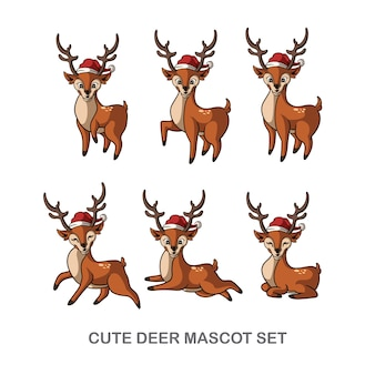 Cute deer christmas mascot set