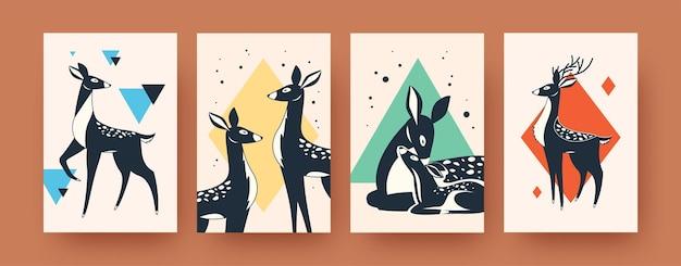 현대 미술 포스터의 귀여운 사슴 컬렉션입니다. 포유류 삽화가있는 전단지. 숲 동물과 야생 동물 개념