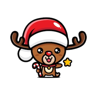 Cute deer design wearing santa hat