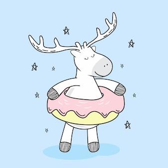 Cute deer donuts doodle cartoon kawaii