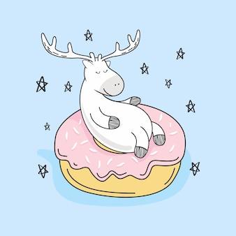 Cute deer donuts doodle cartoon