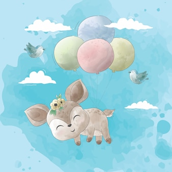 Cute deer fly with balloons