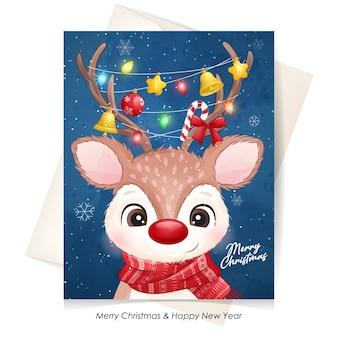 Милый олень на рождество с акварельной иллюстрацией