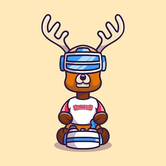Cute deer gamer playing game with virtual reality headset