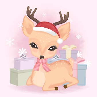 Cute deer and gift boxes