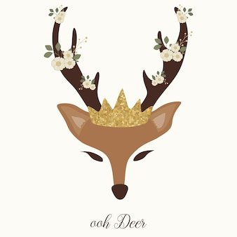 Cute deer graphic with horn, flower and crown