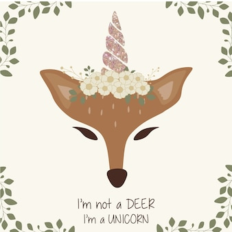 Cute deer graphic with unicorn horn and flower crown