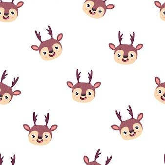 かわいい鹿の頭ベクトル漫画のシームレスなパターン。