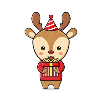 クリスマスを祝うプレゼントを保持しているかわいい鹿漫画落書きアイコンイラストフラット漫画スタイル