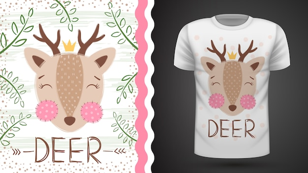 Cute deer idea for print t-shirt