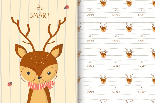 Cute deer illustration with seamless pattern in the white backdrop
