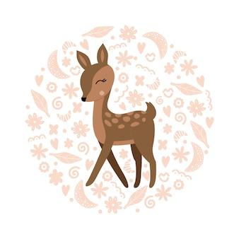 Милая иллюстрация оленя