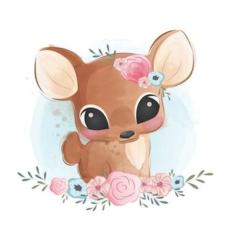 Милый олень в цветочном кусте