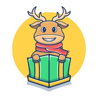ギフトボックスのマスコット漫画でかわいい鹿