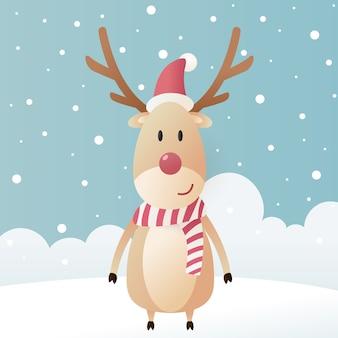 Милый олень в зимних головных уборах и снегу. рождественские иллюстрации