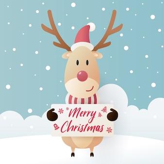 Милый олень в зимнем головном уборе с доской для сообщений и снегом. с рождеством христовым иллюстрация Premium векторы