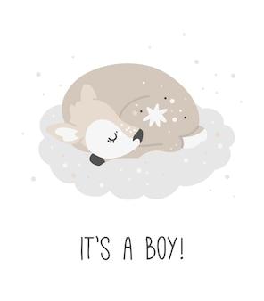 Cute deer it's a boy, kids print