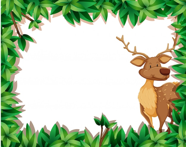 Cute deer in leaf border